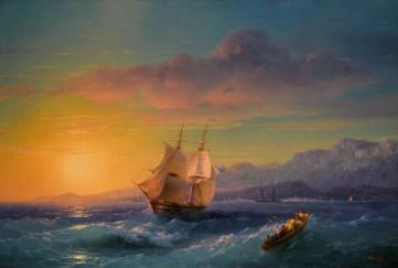 Картина «Корабль на закате» Иван Айвазовский