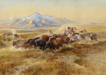 Картина «Охота на бизонов» Чарльз Рассел