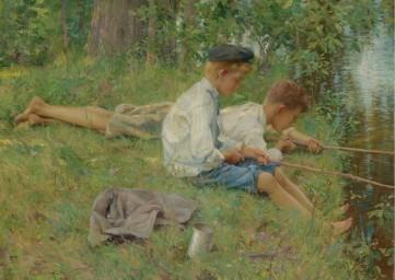 Картина «Рыбалка на берегу реки» Джонс Френсис